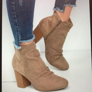 Crystal Scrunch Ankle Booties Taupe